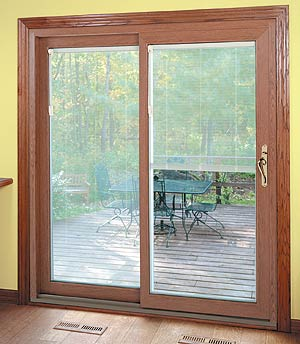 Provincial Oak woodgrain Patio Door with Lift & Tilt SunBlinds